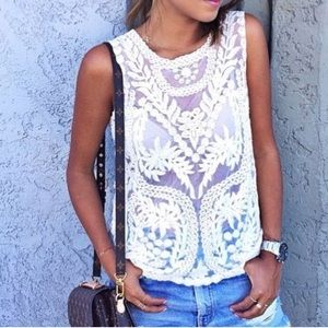 Xs Lace Off White Express Tank Top